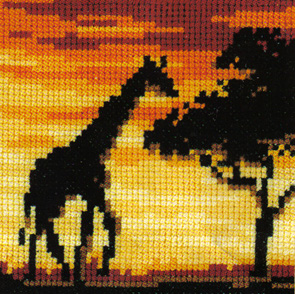 African Sunset  Giraffe Cross Stitch Kit
