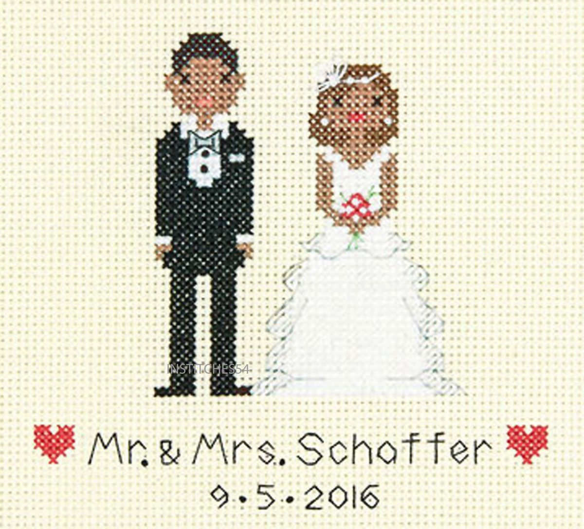 store bride groom wedding record counted cross stitch
