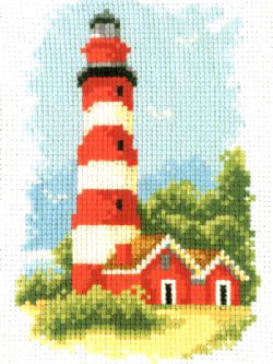 Lighthouse With Red Bands Cross Stitch Kit