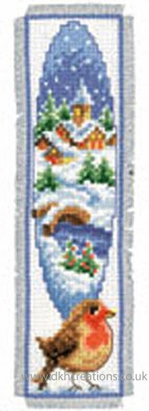 Winter Landscape Robin Bookmark Cross Stitch Kit